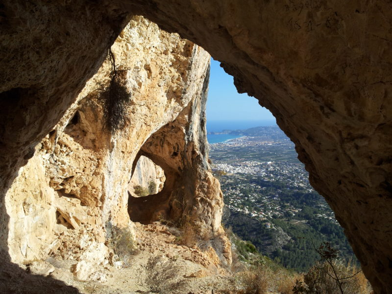 Montgo cave opening view Javea high up
