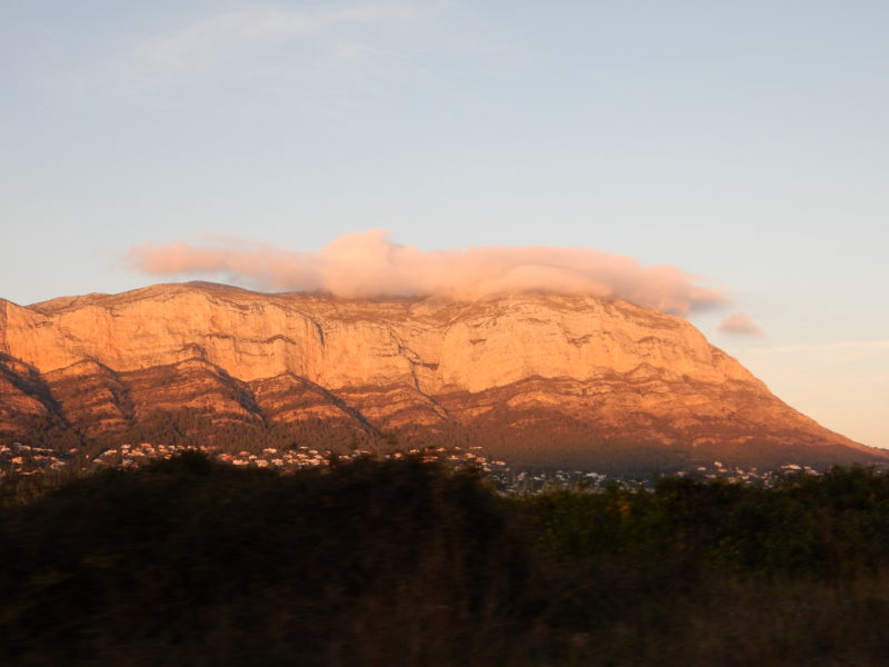 Montgo mountain Javea sunset golden cloud smoke