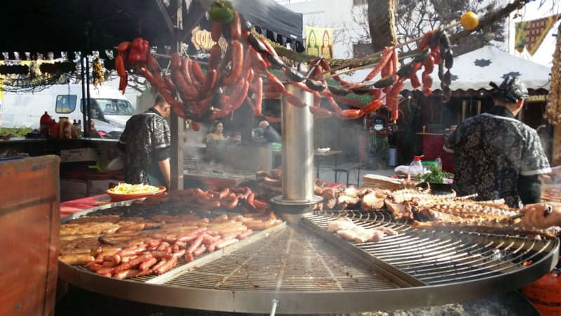 Sausages, ribs, smoke, barbeque, colour.