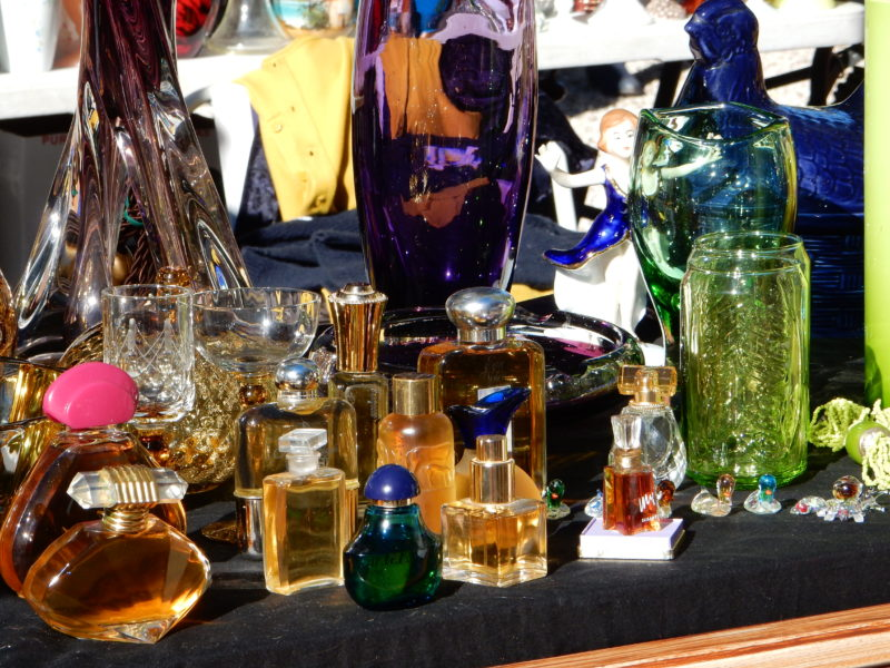 Bottles of perfume, glass colour and shine.