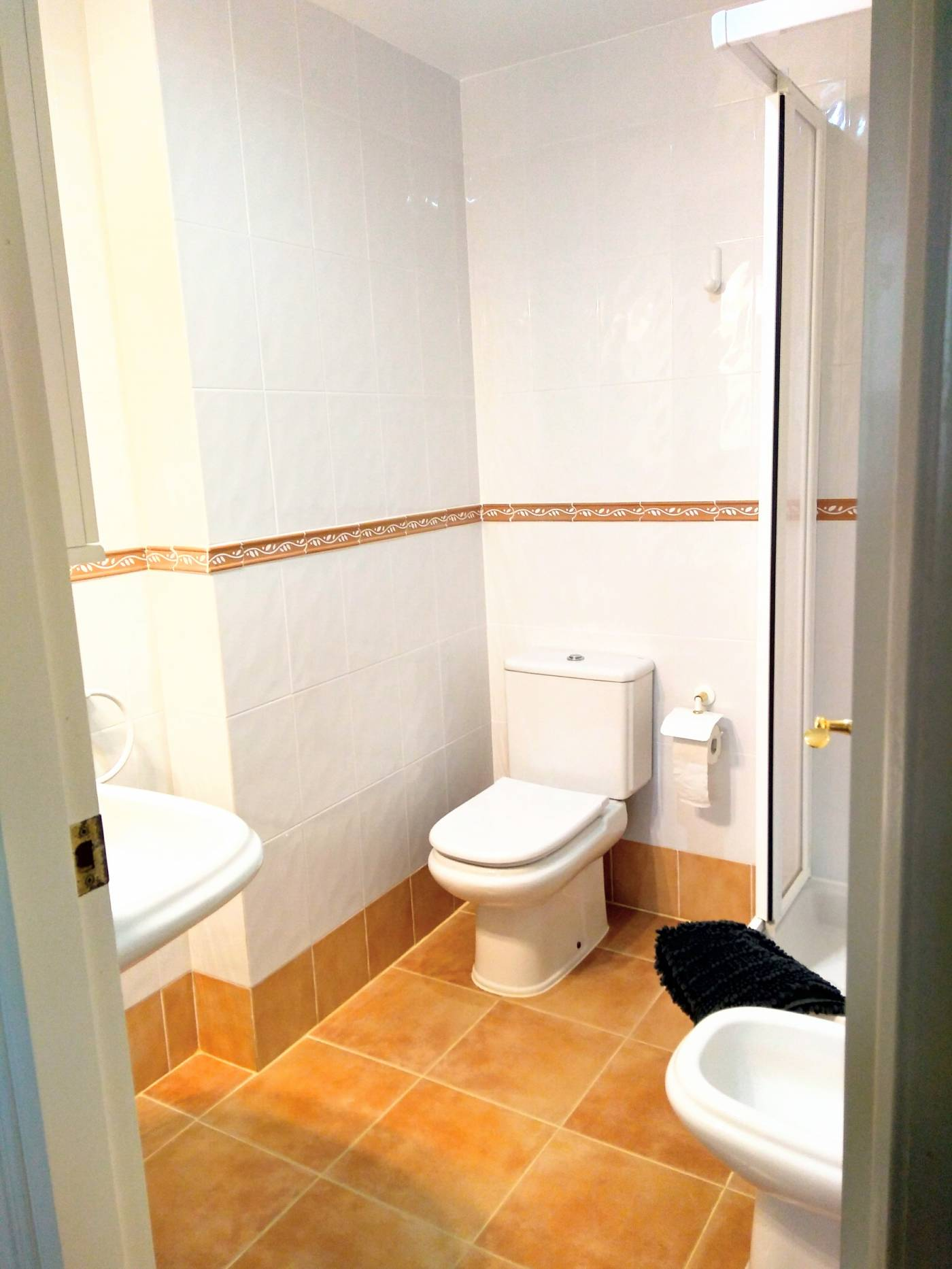 toilet, shower, bidet, sink, tiles,
