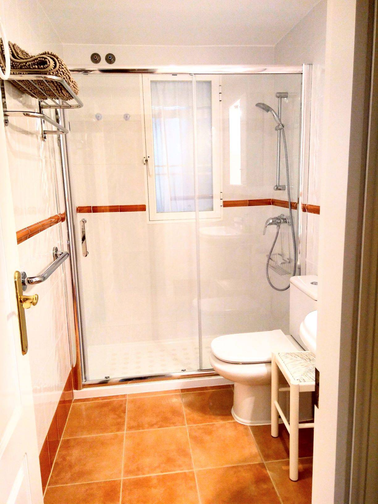 shower, toilet, sink, tiles, white, brown